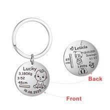 Lemegeton personalizado personalizado bebê chaveiro meninos meninas nome nascimento peso data para o recém-nascido comemorar personalizado chaveiro mãe pai