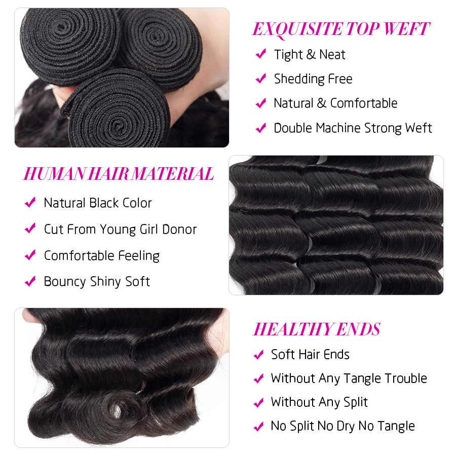 Extensiones de mechones de cabello brasileño de onda profunda suelta Hermosa el cabello Remy puede comprar 1/3/4 mechones de cabello de Color Natural