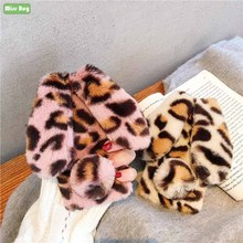 For iPhone 11 Pro 2019 X XS MAX XR 6 6s 7 8 Plus Case Leopard plush rabbit ears furry case Silicone cover for iPhone11 Pro Coque iphone case for iphone x xs xr xs max 8 7 6 6s plus iphone11 iphone11 pro iphone 11 pro max luxury square soft leather kickstand