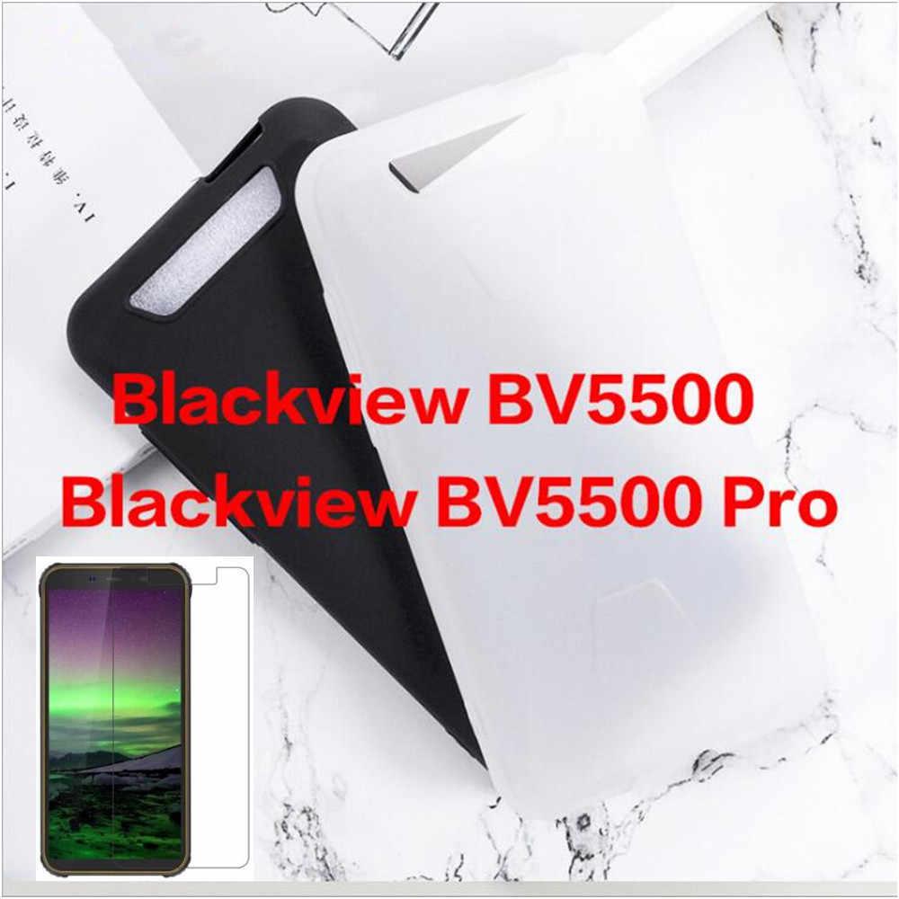 0,3 MM 2.5D Protector de pantalla de vidrio templado transparente para Blackview BV5500 mate negro TPU funda trasera para Blackview BV5500 pro