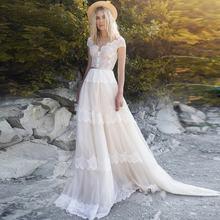 Модное богемное свадебное платье с v образным вырезом и рукавами