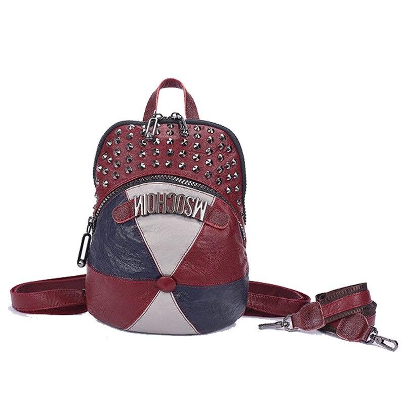 Luxe femmes doux en cuir PU chapeau en forme de sac à dos de haute qualité géogrous Chic Rivet adolescent filles école sac à dos Bookbag