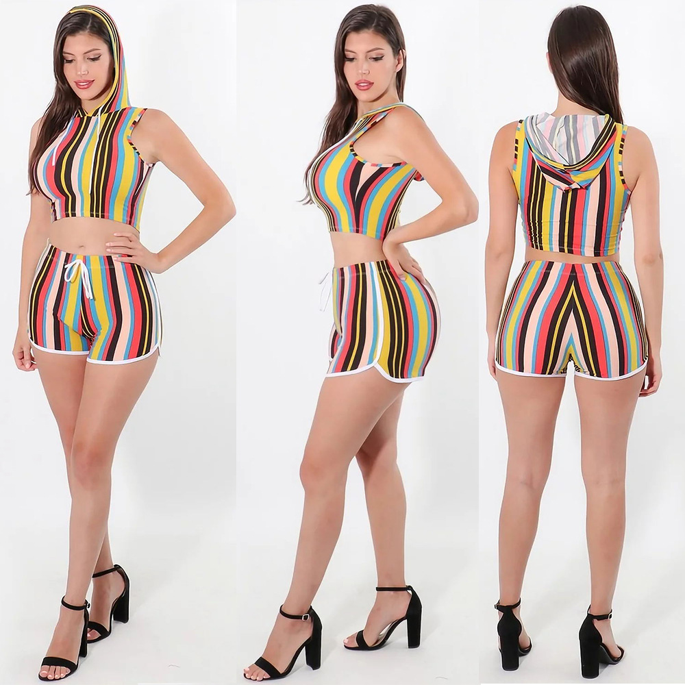 2019 Summer Europe And America New Style Sexy Hat Small Vest Navel Casual Two-Piece Set S1079
