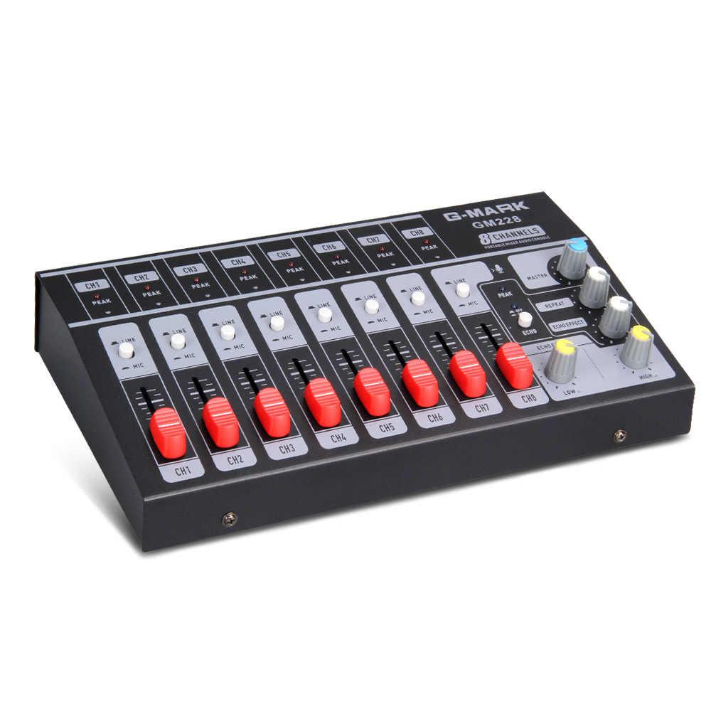 Profesional 8 canales estéreo Audio mezclador consola Karaoke Digital DJ mezclador con USB para micrófono fiesta Reunión de ordenador