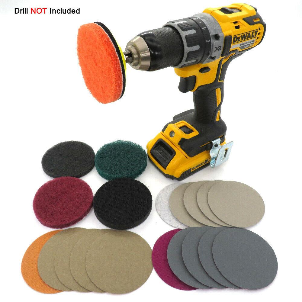 Electric Drill Car Headlight Polishing Scouring Pad Auto Restoration Kit Waterproof Sanding Discs Singal Sponge Pad Car Tools
