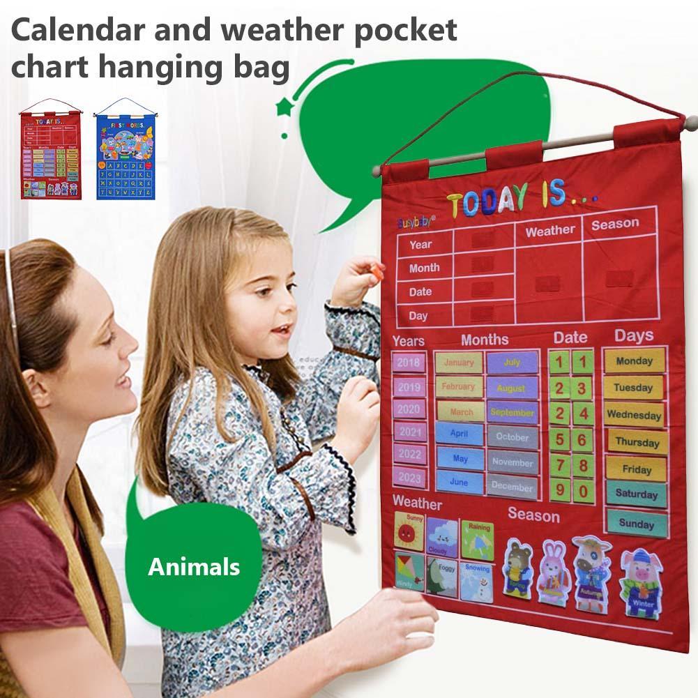 Kindergarten Infant Teaching Educational Toy Cloth Learning English Letter Weather Date Season Teach Tool Calendar Hanging Bag
