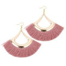 Drop-Earrings Fringed Indian Jewelry Handmade Dangle Bohemian Women Louleur for Fan Round-Shaped