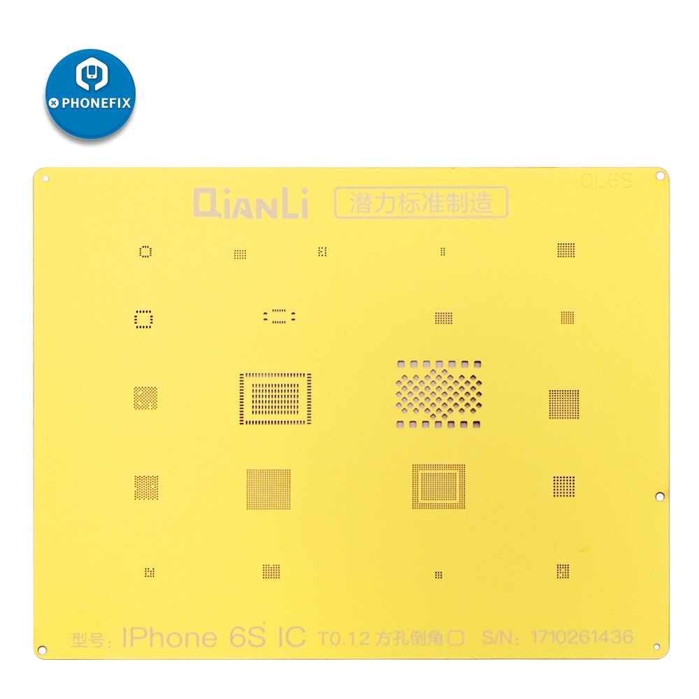 PHONEFIX QianLi Golden BGA Reballing Stencil NAND CPU IC Chips Reballing Repair Tool For IPhone 6 6S 7G 7Plus 8 8P X XS Max