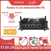 Fansız endüstriyel Mini PC Intel Core i5 7267U i3 7167U 3865U güvenlik duvarı PC Pfsense yönlendirici 6 lan 4 * USB3.0 2 * RS232 HDMI 4G/3G WiFi