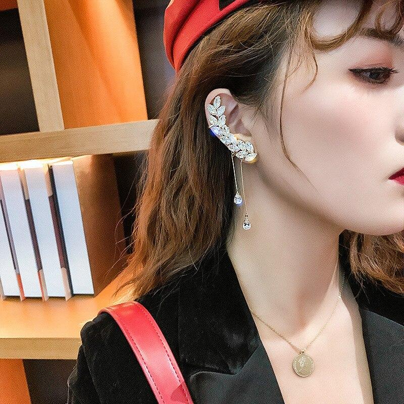 FYUAN Fashion Long Tassel Crystal Earrings Leaf Shape Zircon Ear Clip Earrings For Women Wedding Party Jewelry Gifts