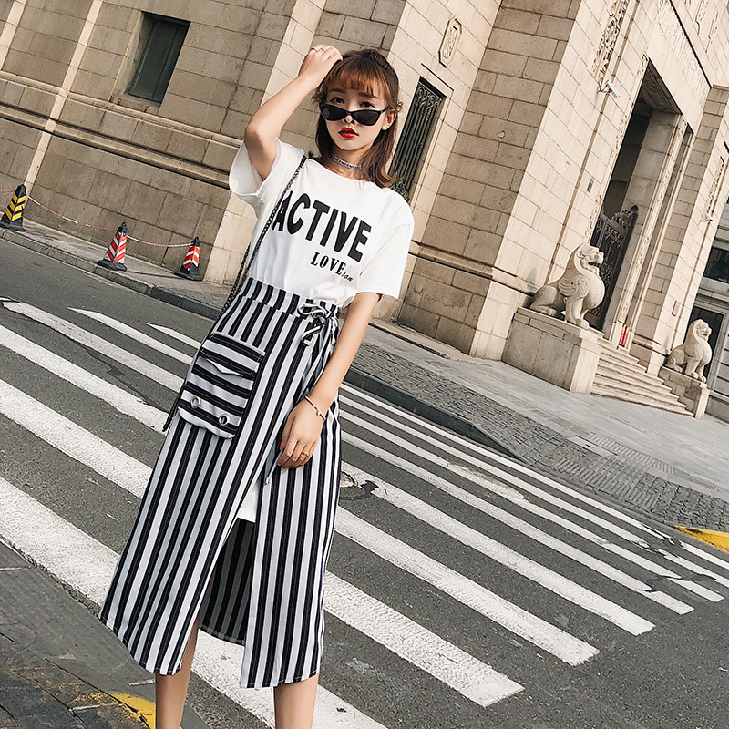 [Dowisi] 2018 Summer New Style Korean-style Short Sleeve T-shirt High Waist Skirt Two-Piece Set Women's F6553