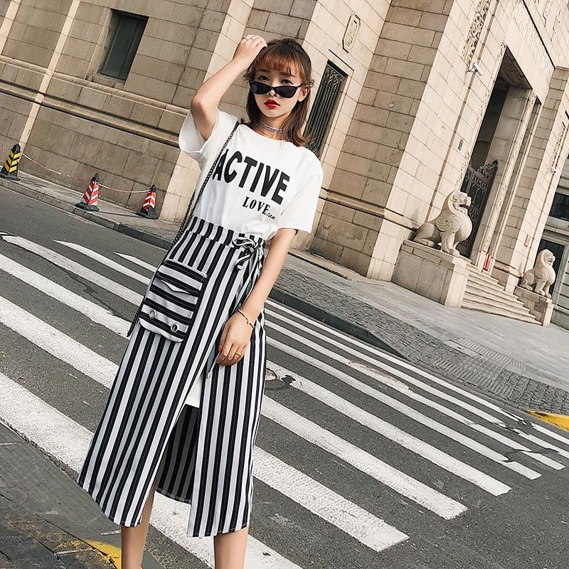 [Dowisi]  Summer New Style Korean-style Short Sleeve T-shirt High Waist Skirt Two-Piece Set Women's F6553