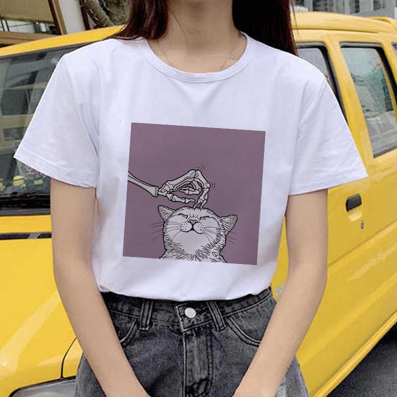 Showtly Horro かわいい猫人間サンドバッグ Tシャツ漫画トップ Tシャツかわいい Tシャツ女性原宿半袖カジュアルヴィンテージ Tシャツトップス