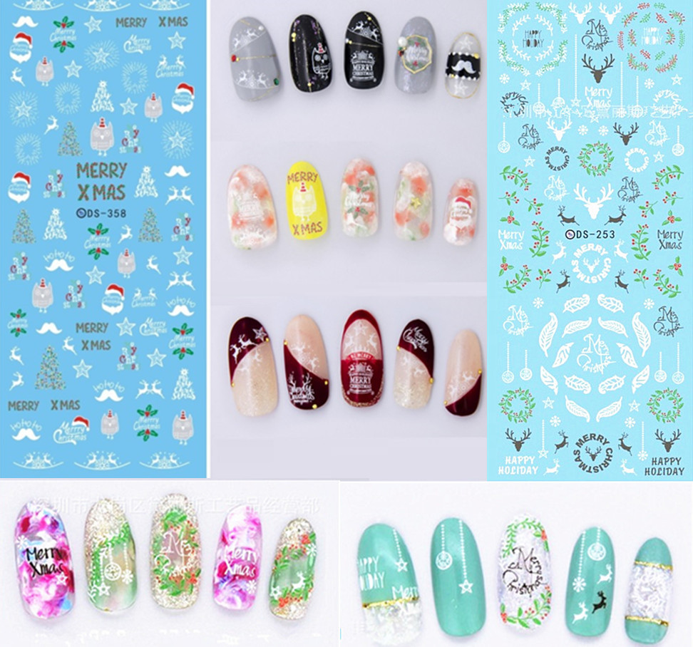 Christmas Manicure Watermarking Adhesive Paper Phototherapy Nail Polish Supplies Flower Stickers Santa Claus Elk Bell Snowflake