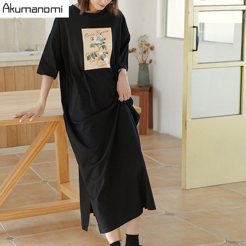 Cotton Tops <font><b>Plus</b></font> <font><b>Size</b></font> <font><b>7xl</b></font> 6xl 5xl 4 Xxxl Black Maxi T Shirt <font><b>Dress</b></font> Women Summer Party Vintage Straight Casual Double Slit <font><b>Dresses</b></font> image