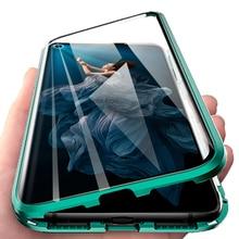 Hai Mặt Kính Cường Lực Từ Tính Ốp Lưng Điện Thoại Huawei Honor 20 Pro Honer Xonor 9X10 Đèn P30 Lite Bao kim Loại Funda Coque