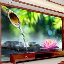 Самоклеящиеся 3D обои с бамбуковым камнем и лотосом, настенные нетканые обои с рисунком на заказ для гостиной, телевизора, украшения дома, сп...
