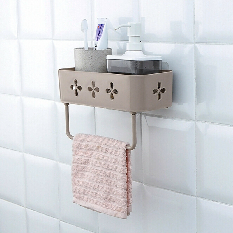 NEW 1PCS Bathroom Shower Wall Mount Storage Rack Stick Holder Organiser With Suction Cup