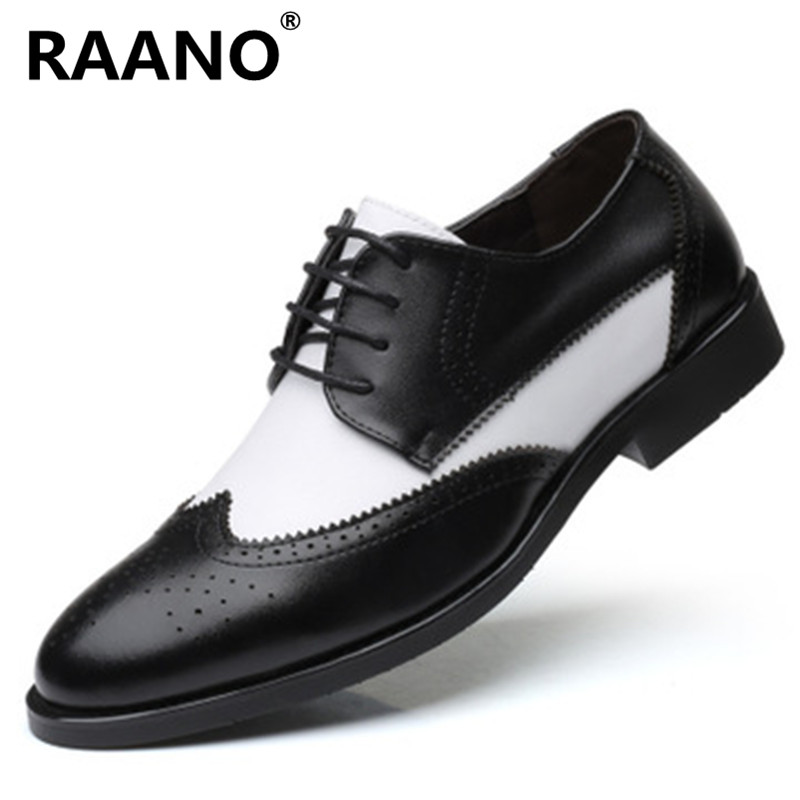 Genuine Leather Men's Business Formal Shoes High Quality Brogue Style Pointed Toe Wedding Dress Shoes Male Lace-Up Party Shoes