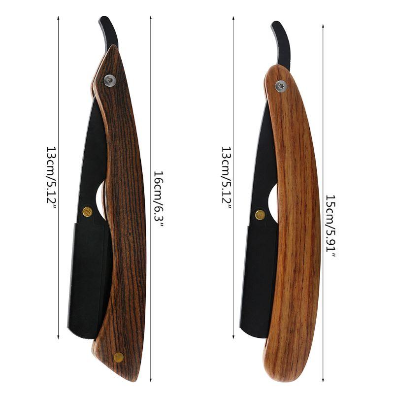 Vintage Manual Shaving Razor Wood Handle Straight Edge Barber Shaver For Men