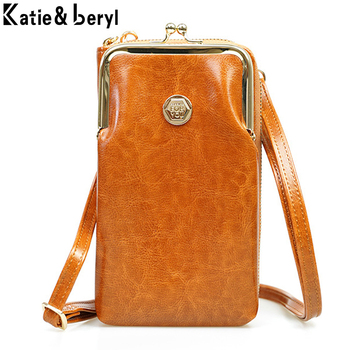 Retro Cell Phone Pocket Mini Crossbody Shoulder Bags For Women Oil Leather Purse Ladies Small Handbags Female Messenger Bag NEW