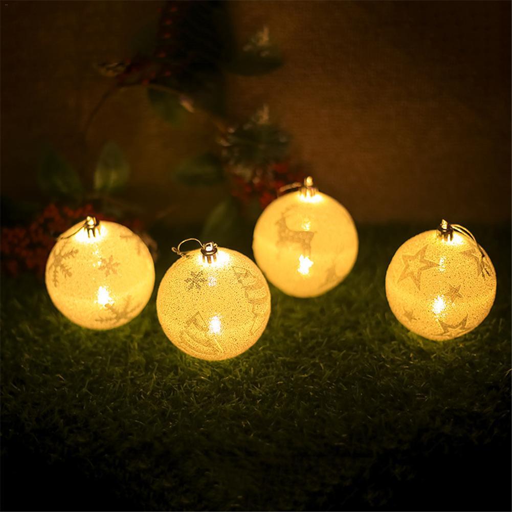 Рождественский шар, белый светодиодный светильник, напечатанный шар, лампа для выращивания рождественской елки, подвеска для