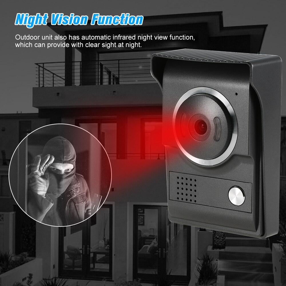 Thuis Bedraad Video Deurtelefoon Deurbel Intercom Systeem Met 7 Inch Lcd Monitor & Regendicht Nachtzicht Camera - 4