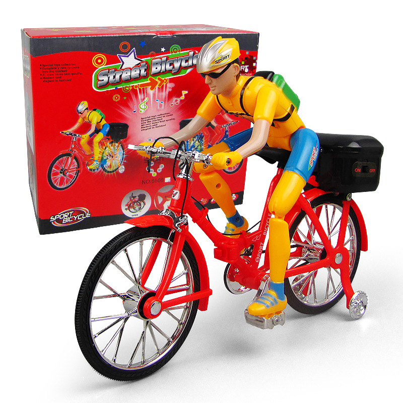 Electric Toy Bicycle Electric Figure Cycling Children Music Glowing Toy Stall Hot Selling