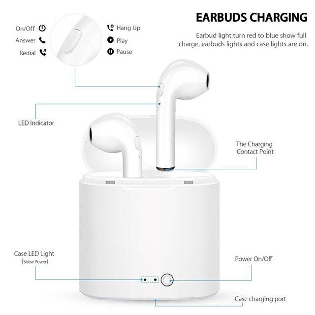 TWS i7 Bluetooth earphones music Headphones business headset sports earbuds suitable wireless Earpieces For xiaomi huawei iphone 3