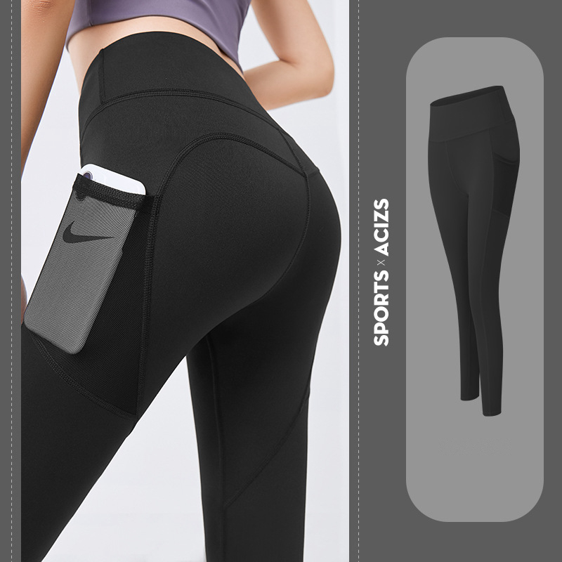 Seamless Yoga Leggings Women Fitness High Waist Energy Yoga Pants with Phone Pocket Sportwear Gym Training Sport Running Tights