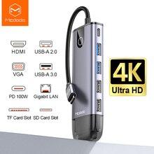 Macdo USB C Hub Type C USB 3.0 Adapter PD 100W RJ45 HDMI VGA for MacBook iPad Pro Samsung