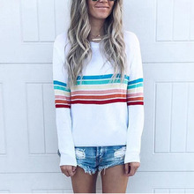 Autumn T Shirt Women O-neck Striped Casual Tops Female Long Sleeve  Pullover Woman Plus Size 4XL sweater Female Rainbow Pullover все цены