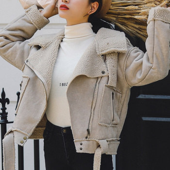 Ailegogo New Winter Women Thick Warm Faux Lamb Lether Jacket with Belt Turndown Collar Streetwear Loose Sheepskin Coat Outwear 1
