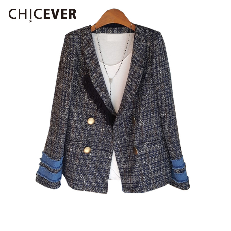 CHICEVER Plaid Patchwork Tassel Blazer For Women Notched Long Sleeve Button Casual Suit Female Fashion Autumn Winter New 2020