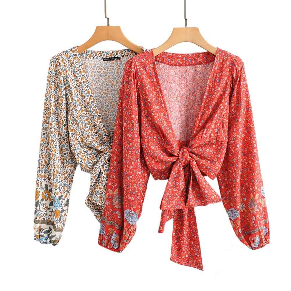 2019 new women 보헤미아 선 플라워 프린트 기모노 셔츠 루스 롱 슬리브 v 넥 넥타이 보우 카디건 블라우스 femme blusas