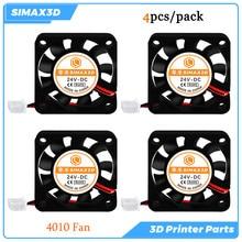 Peças da impressora 3d ventilador de refrigeração 4010 24v 4 pces sem escova ventilador ender 3 pro kits cr10 v5 v6 hotend mk8 extrusora reprap turbo ventilador