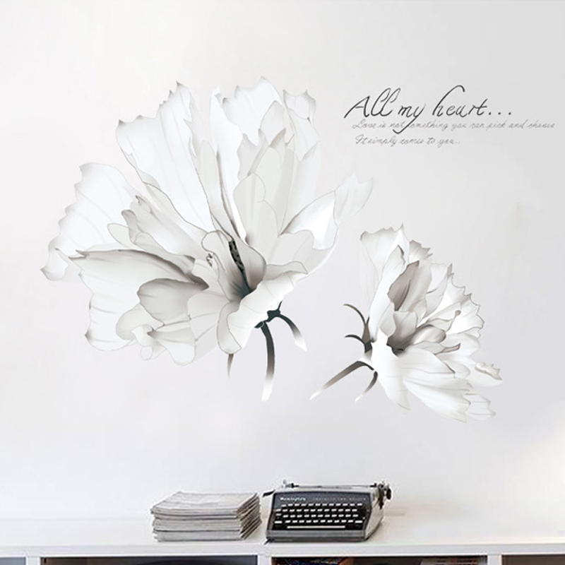 White Flower Art Wall Stickers Sofa TV Background Sticker Kids Room Living Room Decals Decorative Waterproof Vinyl Poster