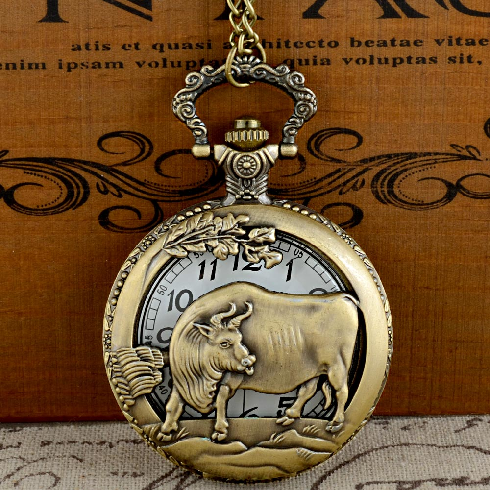 IBEINA Vintage Bronze Cattle Graphic Quartz Pocket Watch With Chain Retro Men Women Classic Pendant Necklace Clock Gift