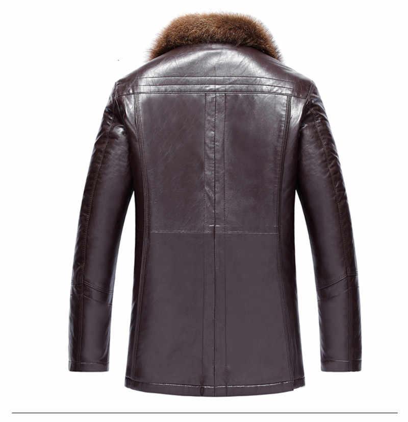 Casaco de pele de guaxinim grosso dos homens dos cordeiros de inverno jaqueta de couro de lã gola de pele de guaxinim jaqueta couro masculino mais tamanho hj509