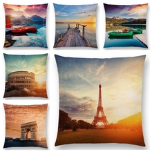 MIAOTU Paris Eiffel Tower Cushion Cover European Landmarks Pillowcase Beautiful Scenery  Sofa Throw Pillow Case for Living Room