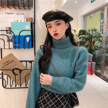 Ailegogo New Women Spring Turtleneck Pullovers Casual Female Knitted Loose Fit Sweater Retro Solid Color Ladies Knitwear Tops 6