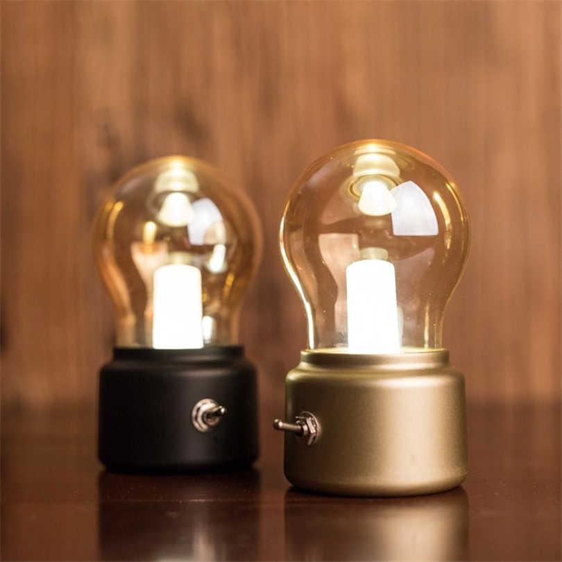 Ночной светильник черного цвета в стиле ретро светодиодный ночник лампа Эдисона USB самозарядные лампы Детские Спальня прикроватный Лам дома деко Ночная