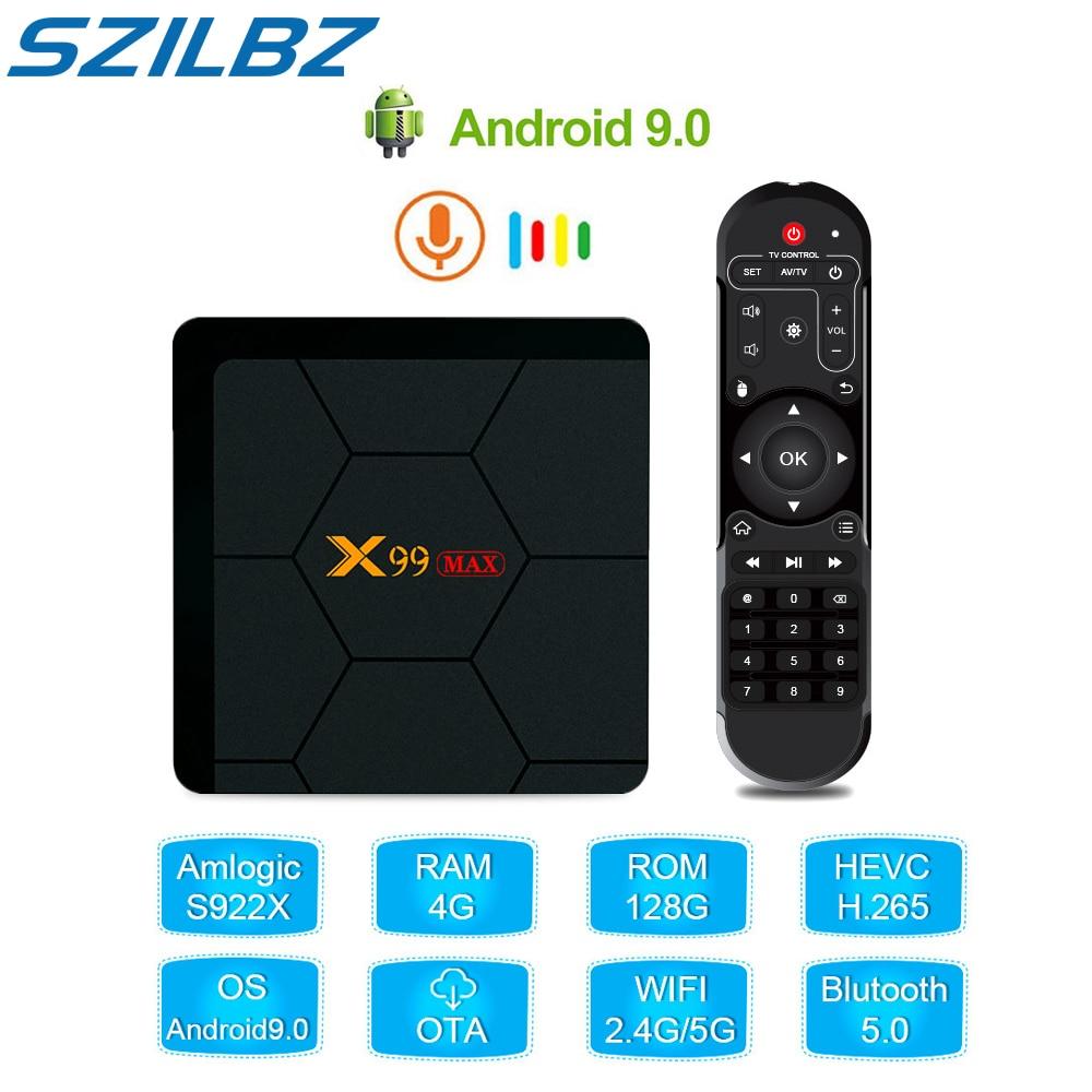 Smart TV Box Android 9.0 Amlogic S922X Hexa-core TV Box Netflix 4K TV Media Player 4GB DDR4 128GB X99 MAX 2.4G Wifi Set-top Box