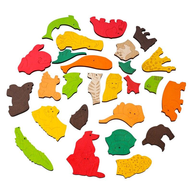 Heißer verkauf Super Große Tier Puzzles Holz Spielzeug 3D Puzzle Jigsaw für Kinder Baby Cartoon Tier Puzzles Frühen Pädagogisches Spielzeug - 3