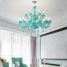 New double-layer 15/18 heads macaron crystal chandelier pink / blue / green children's room bedroom living room decoration lamps