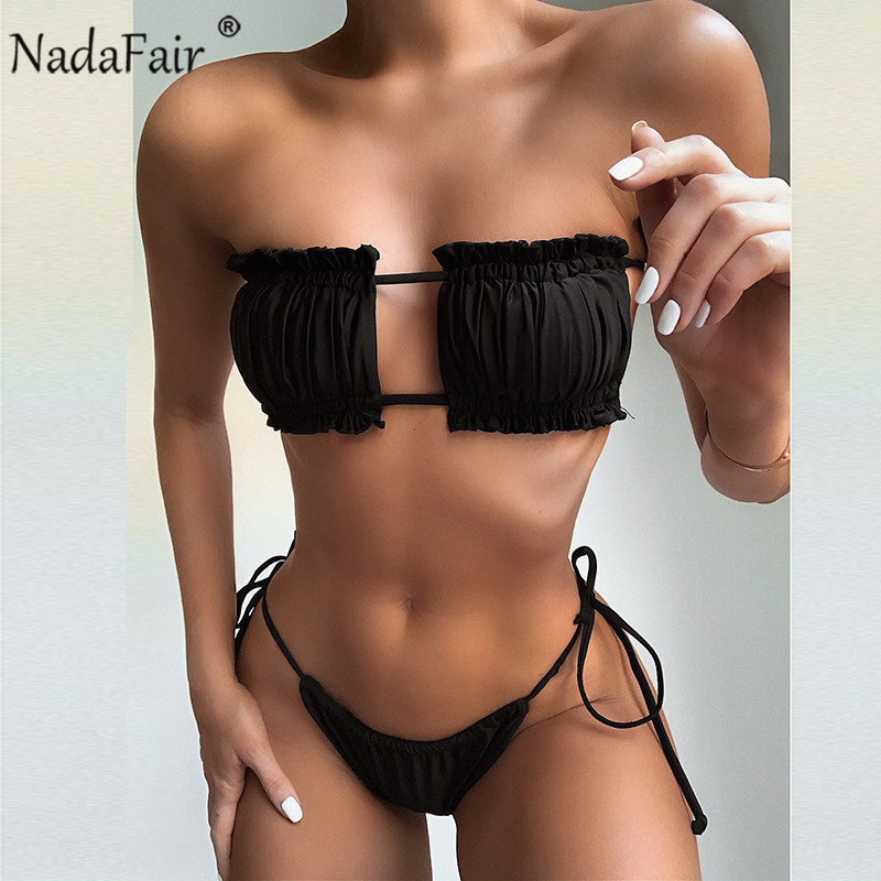 Nadafair Summer Sexy Women Bikini Set Bandage Two Piece Push Up Swimwear 2020 Solid Biquini Swimming Suit Women Bathing Suit