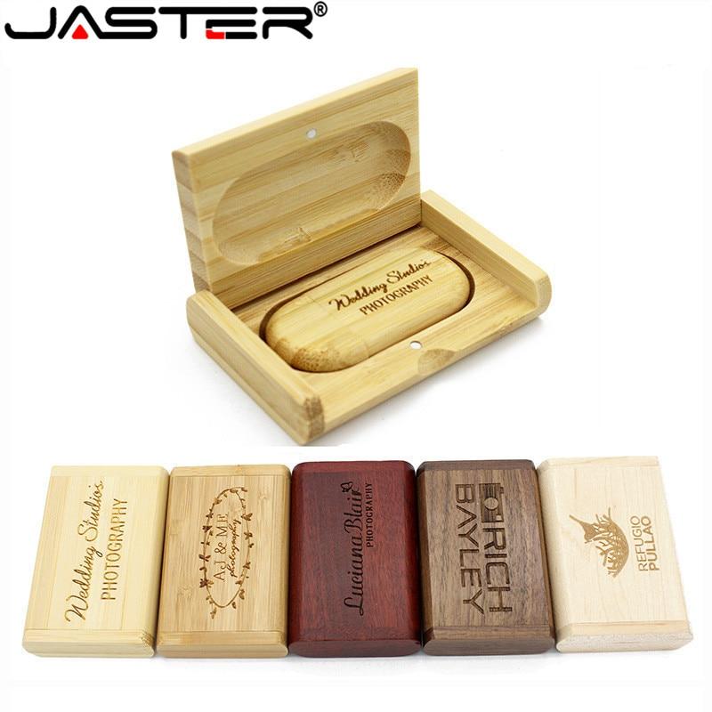 JASTER 1PCS free custom logo wooden + Box Personal LOGO pendrive 4GB 16GB 32GB usb Flash Drive U disk Memory stick wedding Gift(China)