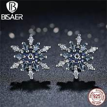 Bijoux 925 Sterling Silver Crystalized Snowflake, Blue Crystals Clear CZ Stud Earrings for Women Earrings Silver Jewelry brincos(China)