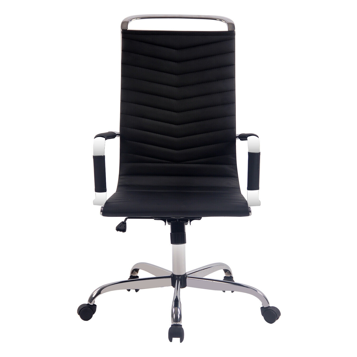 Executive Swivel Office Chair Racing Style Computer Seat High Back Leather Black