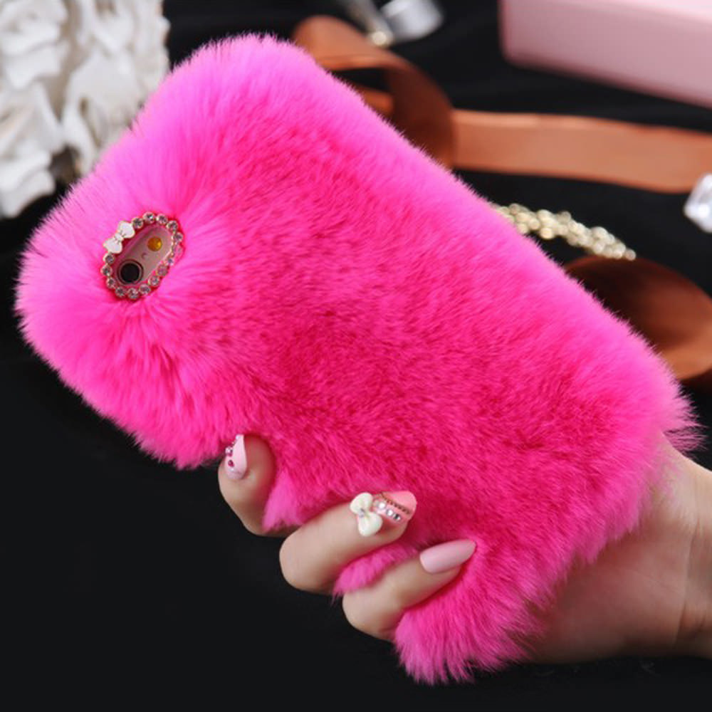 L-FADNUT Cute Fur Fluffy Phone Case For iPhone X Xr Xs 11 Pro Max 5 5S SE 2020 12 Luxury Diamond 6S 6 7 8 Plus Girl Cover Soft